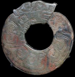 Ring with coiled dragon design, Jade ware, Shang Dynasty, by Mountain at Shanghai Museum