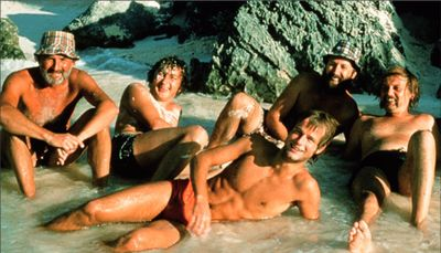 Bermuda 1973 - from left to right: Wolfgang Wieser, Fritz Schiemer, Wolfgang Sterrer, Jörg Ott, lying: Erich Gnaiger