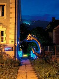 Oroboros (Harald Kirchebner) – the gateway to the MiPArt Gallery, Schöpfstrasse 18, Innsbruck, Austria (photo Alexander Halbwirth)